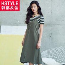 韩都衣舍2018韩版女装春装新款纯色系带吊带衣裙JT6919槿