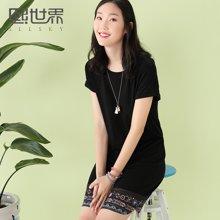 熙世界中长款韩版连衣裙女2018夏季新款裙装短袖圆领蕾丝102SL195