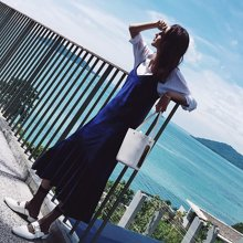 新品 七格格 吊带连衣裙女韩版显瘦A字气质名媛V领丝绒中长裙子