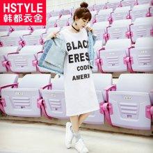 韩都衣舍2018新款女装春装韩版宽松显瘦中长款长袖连衣裙RW7093瑒
