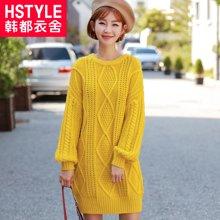 韩都衣舍17韩版女装秋装新款宽松纯色长袖毛织连衣裙DU8057樱0926
