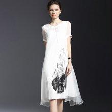 绮娑  夏季新款复古短袖拼接亚麻印花假两件套连衣裙
