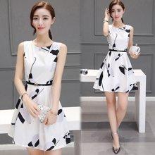 亿族 夏季新款韩版修身高腰连衣裙女无袖圆领白色小清新公主裙