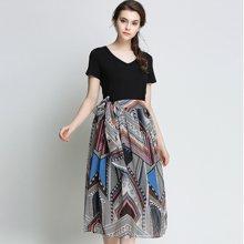 亿族 2018夏季新款大码女装印花雪纺连衣裙女显瘦V领中长款收腰长裙
