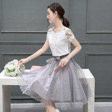 植木直新款蕾丝连衣裙子套装中长款女欧根纱蓬蓬裙两件套1609068