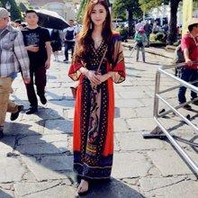 tobebery2019夏季新款民族風女裝印花連衣裙夏波西米亞長裙大碼海邊度假泰國顯瘦沙灘裙