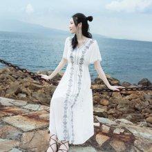 tobebery2019夏季新款女装沙滩裙仙海边度假雪纺长裙大码泰国遮肚子气质连衣裙女夏
