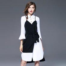法米姿  2018新款女韩版假两件喇叭袖吊带裙不规则衬衫连衣裙 97089