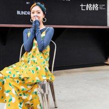 新品 七格格 吊带连衣裙子夏女2018春装季新款韩版打底显瘦中长款碎花雪纺