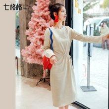 新品 七格格 韩版修身中长款收腰2018新款连衣裙春季装女装长袖显瘦气质裙子潮