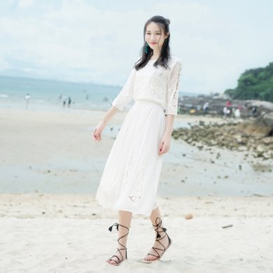 tobebery海灘裙棉綢沙灘裙女夏2018新款海邊度假波西米亞長裙性感泰國顯瘦