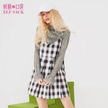 妖精的口袋春装2018新款吊带黑白格套头内搭修身a字裙连衣裙短裙女A-8100012