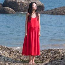 素缕2018夏装新款女装文艺大摆红色过膝吊带裙女长款SC8209竸