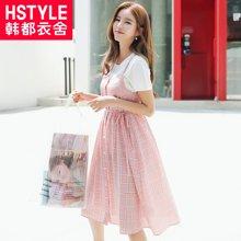 韩都衣舍2018夏装新款女装收腰格子吊带连衣裙LZ8535烎0610