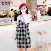 新品 七格格 連衣裙女裝2018春裝新款韓版時尚顯瘦學生拼接假兩件露肩性感短裙