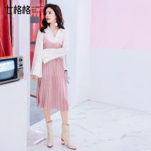 新品 七格格 金丝绒吊带连衣裙2018新款女装春装韩版小清新刺绣打底中长款裙子