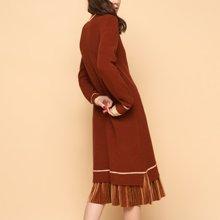 初语2018春装新款 圆领撞色假两件开叉连衣裙长款毛衣裙过膝女8812413012
