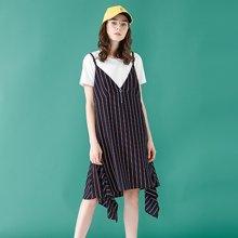 初语2018春装新款 不规则下摆性感V领条纹吊带连衣裙女无袖背心裙8812442002