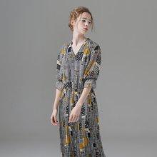 初语夏季V领复古撞色印花七分袖雪纺连衣裙女中长款收腰百褶裙8722416027
