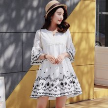 tobebery娃娃裙2018新款白色连衣裙女夏 大码宽松海边度假沙滩裙 短裙甜美