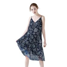 初語很仙的法國小眾連衣裙性感吊帶印花V領雪紡背心碎花仙女裙8722446032