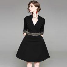 蔚家時尚 2019春裝新款氣質女裝歐美時尚半開領大擺中款純色連衣裙 1801205