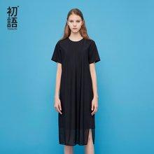 初語2018夏季新款 H型純黑中長款連衣裙女顯瘦8822432025