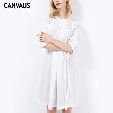 CANVAUS欧洲站纯色修身通勤大码中长裙连衣裙女装裙子CS8001D