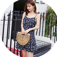亿族 夏季新款韩版吊带碎花连衣裙女中裙雪纺收腰显瘦打底吊带裙子