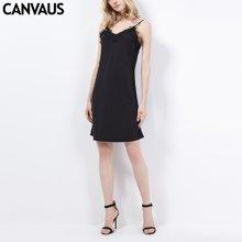 CANVAUS新款性感连衣裙修身睡衣女吊带露背蕾丝打底内衣睡裙N321A