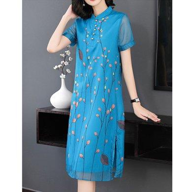 億族 夏季新款氣質優雅印花旗袍立領裙擺分叉中長款大碼女裝連衣裙