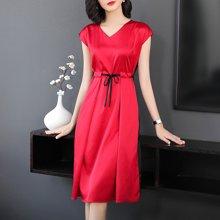 亿族 2018夏季新款修身V领系带收腰裙子前后拼色中长款大码女装连衣裙