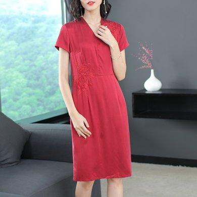 绮娑 夏季新款高贵气质刺绣大码女装裙子纯色V领短袖连衣裙