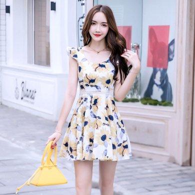亿族 夏季新款性感高腰小个子裙子荷叶袖碎花连衣裙