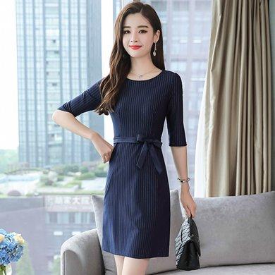 亿族 春秋装新款时尚修身条纹系带连衣裙中袖裙子