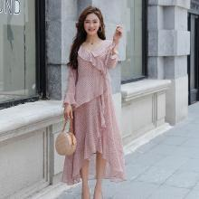 亿族 秋季新款大码女装粉色长袖V领喇叭袖减龄雪纺波点女连衣裙