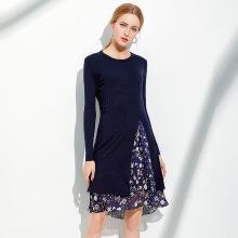亿族 秋冬装新款大码女装胖MM纯色开叉针织衫吊带印花连衣裙两件套装