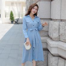 亿族 秋季新款大码女装翻领显瘦气质衬衫T条纹中长款女连衣裙