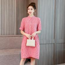 亿族 立领红色格子连衣裙女夏季新款大码女装宽松五分袖中长款连衣裙减龄休闲裙