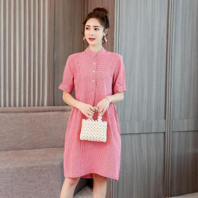 億族 立領紅色格子連衣裙女夏季新款大碼女裝寬松五分袖中長款連衣裙減齡休閑裙