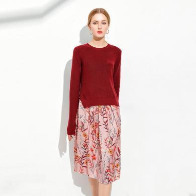 億族 裙子兩件套冬季新款大碼女裝開叉毛衣+印花吊帶連衣裙兩件套女裝