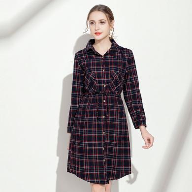 億族 秋季新款大碼女裝長袖連衣裙女逆齡修身顯瘦格紋中長款襯衫裙
