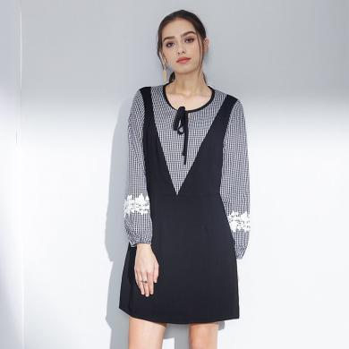 億族 秋季新款大碼女裝胖MM顯瘦A字裙格子拼接假兩件長袖連衣裙女