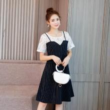 亿族 假两件连衣裙夏季新款蕾丝拼接连衣裙女大码连衣裙