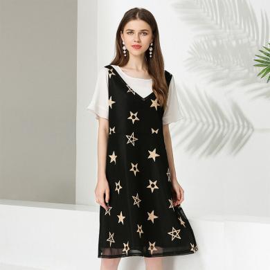 億族 夏季新款大碼女裝胖MM拼接假兩件顯瘦藏肉中長款連衣裙