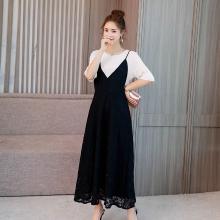 亿族 2018夏季新款大码女装胖MM拼接假两件连衣裙洋气显瘦蕾丝收腰连衣裙