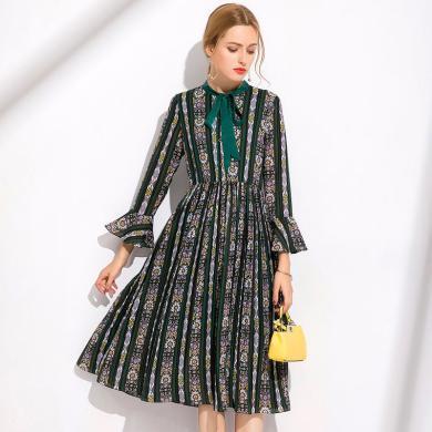 亿族 秋季新款大码女装长袖连衣裙女胖MM复古优雅气质系带领中长裙