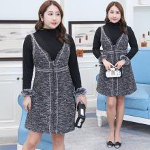 诗铭洛可2018冬装新品大码女装韩版显瘦两件套连衣裙6509