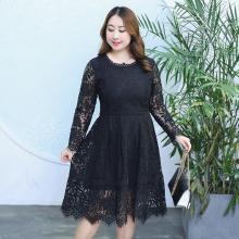 诗铭洛可2018秋季新款大码女装韩版休闲蕾丝连衣裙1039