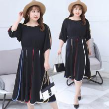 诗铭洛可2018秋季新品大码女装时尚撞色彩边连衣裙个性优雅女裙6629